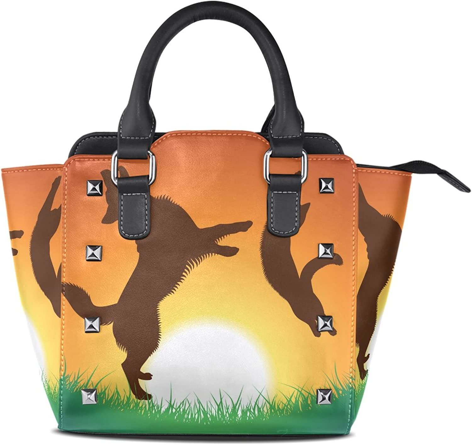 Sunlome Cat and Dog Jumping The Sunset Print Handbags Women's PU Leather Top-Handle Shoulder Bags