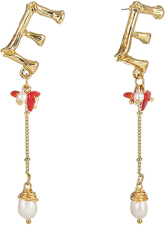 Lilico bridal jewelry Women's Goldplated 26 Letter Earrings Pearl Shell Earrings Earrings Temperament Ear Buckle Ear Clip