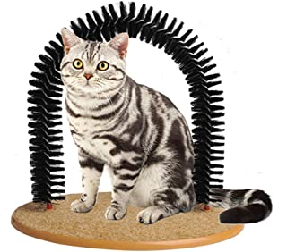 petgift Pet Grooming Scratcher Brush Cat Arch Self Groomer Massager Groom Toy Cat Back Scratching Arch