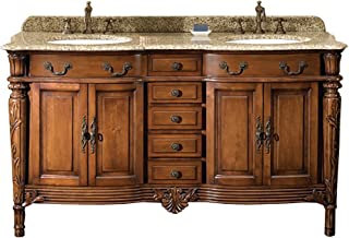 Ove Decors Chestnut Double Vanity with Granite Top in Beige with White Basin, 60-Inch by 22-Inch