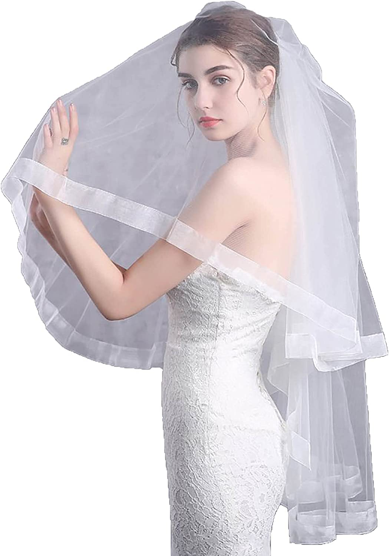 Acenail 2 Tier Ivory Women's Wedding Veil Soft Tulle Ribbon Edge Bridal Veil Fingertip Length Veil with Comb Wedding Accessory for Brides