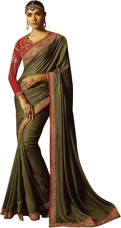 DesiButik's Designer Ravishing Olive Barfi Silk Saree
