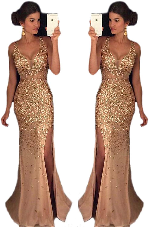 Chenghouse Mermaid Prom Dresses 2018 V Neck Beaded Prom Dress