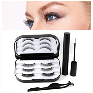 Magnetic Eyeliner and Lashes Kit, Natural Look 3 Pairs of Different Style Magnetic Eyelashes Set for Full Eye Lashes Extension 5 Magnets with Tweezers and Mirror (Triple_style)