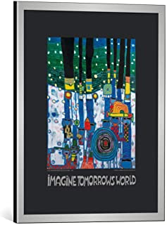 Kunst für Alle Image encadrée: Friedensreich Hundertwasser Imagine Tomorrows World - nach 944 Blue Blues - Impression d'ar...