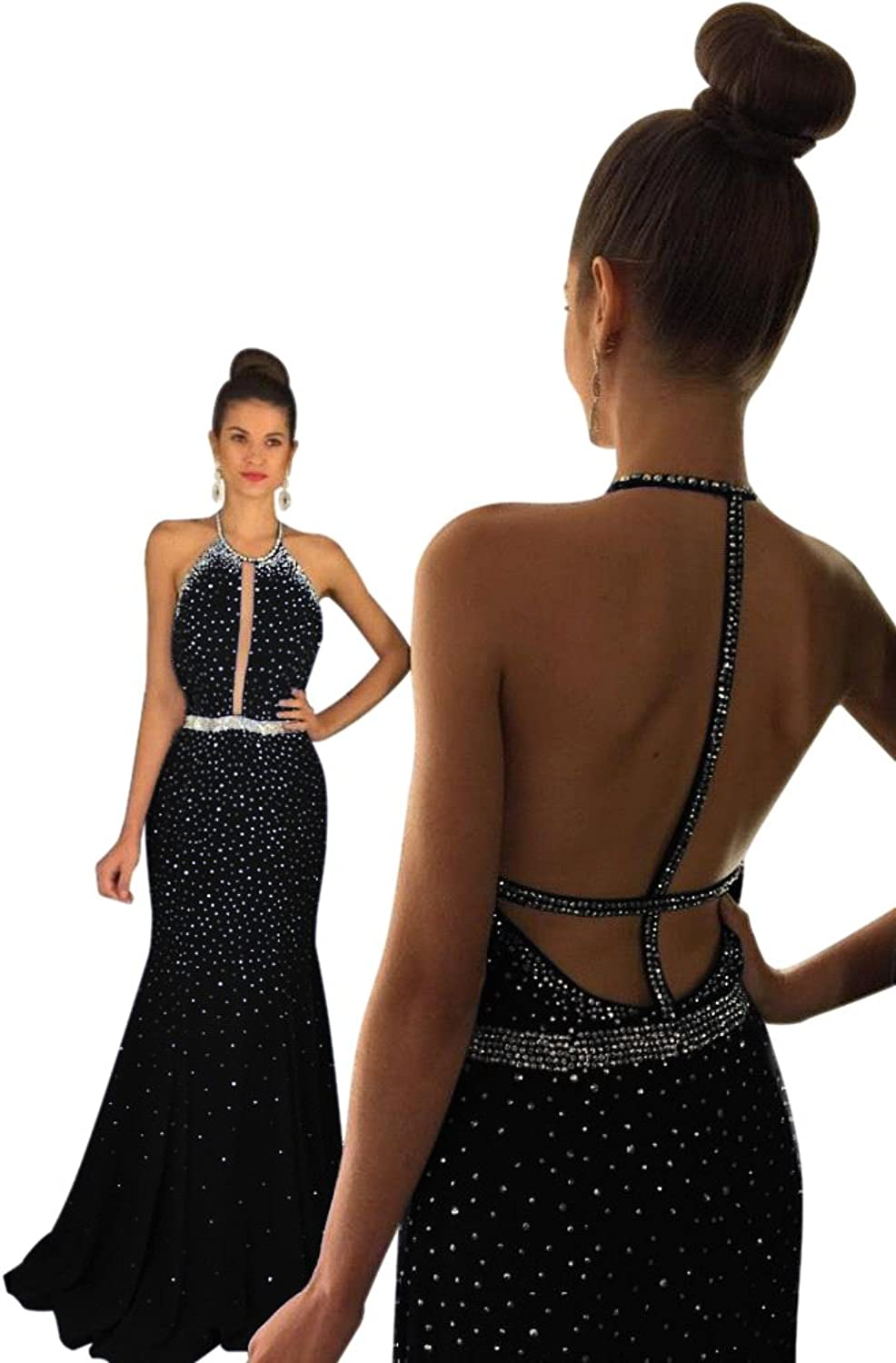 XJLY Sexy Halter Mermaid Long Prom Dress Backless Formal Evening Gowns Beaded
