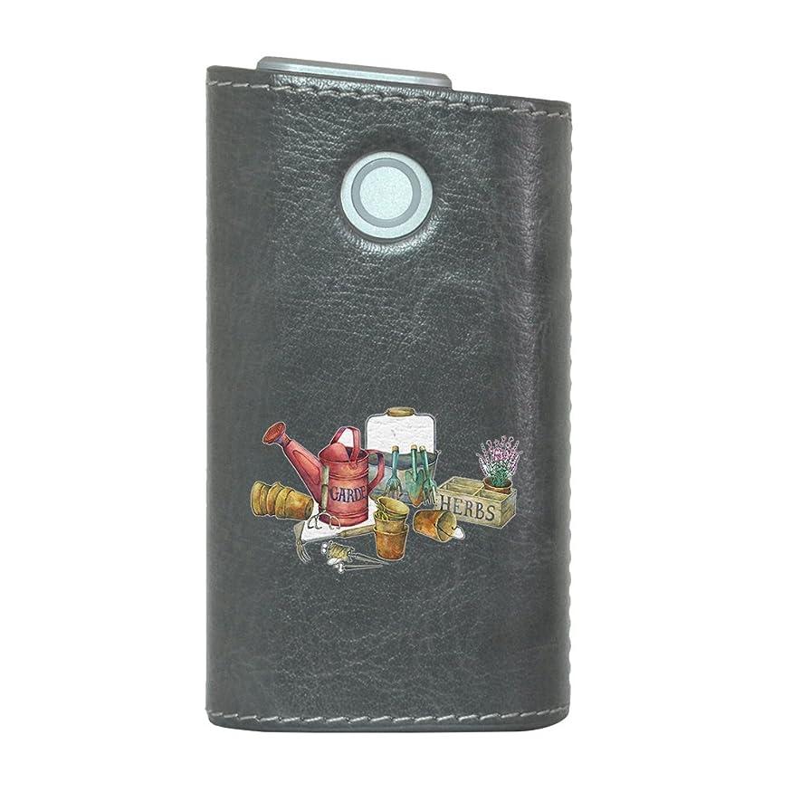 シルク贅沢情緒的glo グロー グロウ 専用 レザーケース レザーカバー タバコ ケース カバー 合皮 ハードケース カバー 収納 デザイン 革 皮 GRAY グレー 花 鉢植え フラワー 014392