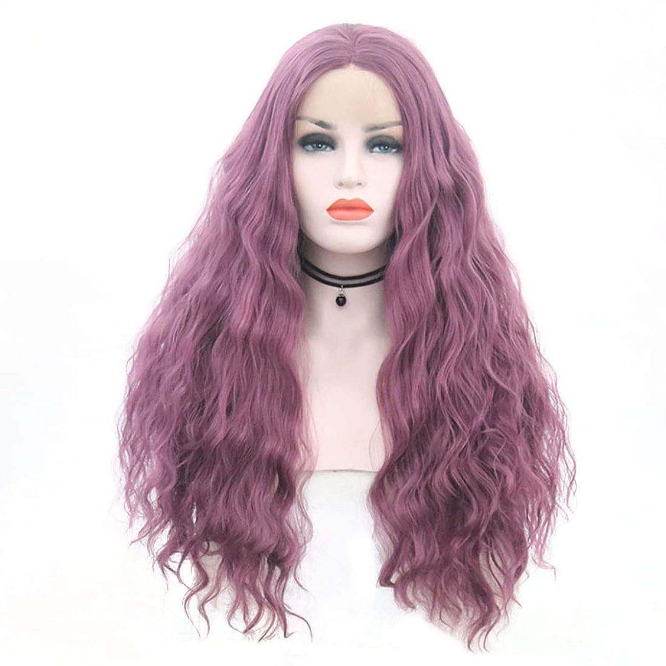 日食投獄世代Yrattary フロントレースかつらロングヘア細いつる紫色の大きな波状の長い巻き毛のかつらセット合成ヘアレースかつらロールプレイングかつら (色 : 紫の, サイズ : 18 inches)