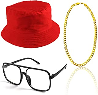 Beelittle 80s/90s Hip Hop Costume Kit Cool Rapper Outfits,Bucket Hat Sunglasses Gold Plated Chain