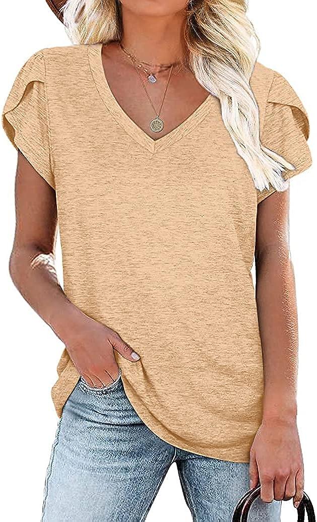 Kalssior Womens Max 82% OFF Tops V Neck Casual Sleeve Petal Virginia Beach Mall Tshirts Summer