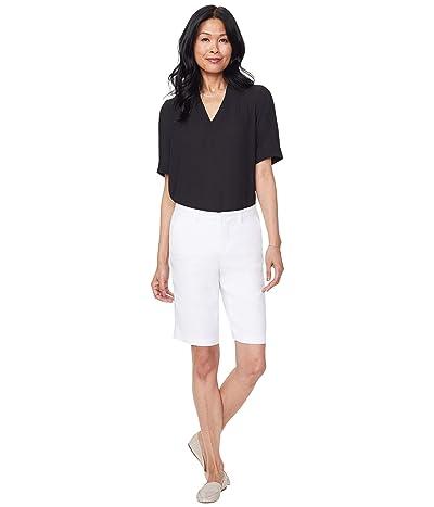 NYDJ Bermuda Linen Shorts (Optic White) Women