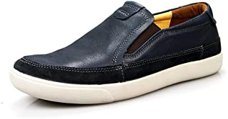 ZiWen Lu Classic Loafers for Men Casual Shoes Slip-on Business Wear-Resisting Genuine Leather Flat Round Toe Vegan Anti-Skid Lightweight (Color : Blue, Size : 6.5 UK)
