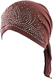 Powerfulline Fashion Lady Rhinestone Muslim Turban Hat Chemo Cap Hair Loss Hijab Cap Cover