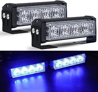 Luces LED estroboscópicas de emergencia, Calevin Recuperación Techo Baliza de advertencia Mini barra de luces 18 Modos intermitentes Luz de peligro de la policía para vehículos de 12V, Azul