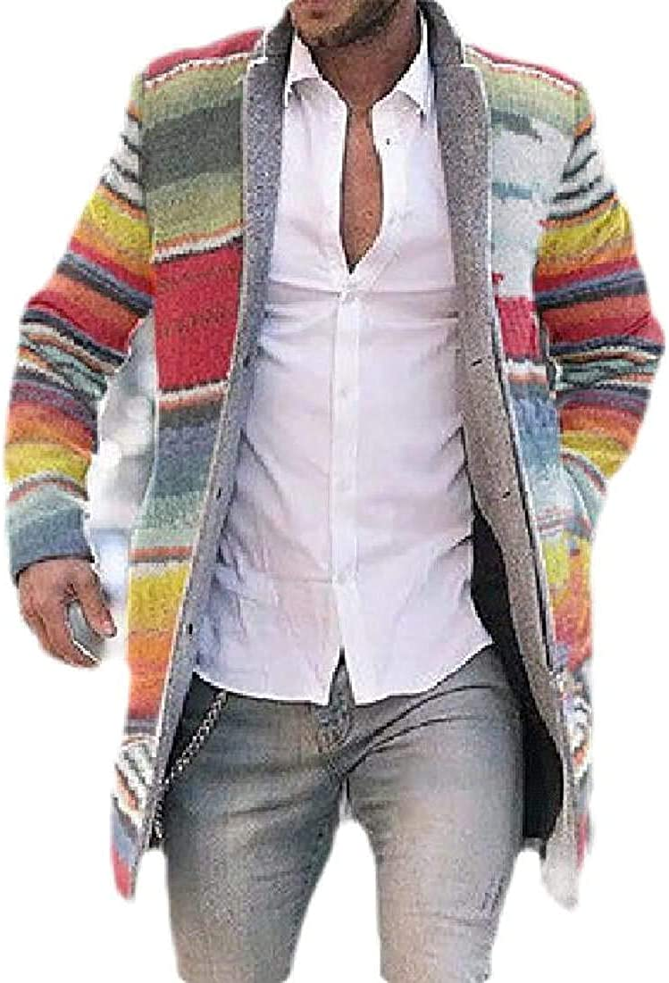 Men's Slim Long Jacket Wool Blend Stand Collar Winter Print Pea Coat