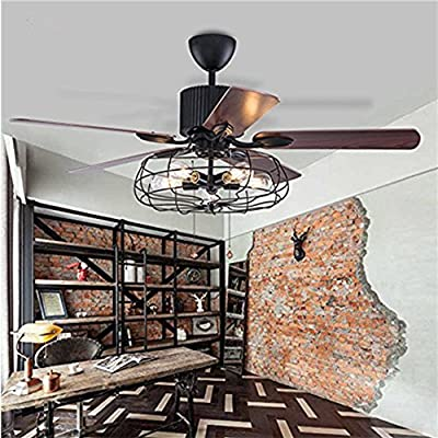 """Fandian 52"""" Vintage Ceiling Fan with Lights Industrial Chandelier Remote Control Lamp Reversible Lighting fixture, Silent Motor Bulbs Required"""