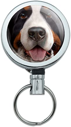 Berner Sennenhund Face Nahaufnahme Heavy Duty Metall Retractable Reel ID Badge Key Card Tag Holder mit G�rtel Clip