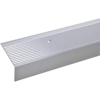 acerto 33713 Perfil angular de escalera de aluminio - 100cm 28x50mm plateado * Antideslizante * Robusto * Fácil instalación | Perfil de borde de escalera perfil de peldaño de escalera: Amazon.es: Bricolaje y herramientas