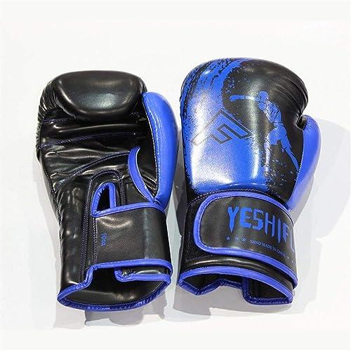 Y-WEIFENG Gants de Boxe Unisexe Gants d'entraîneHommest Combat Libre Gants de Boxe Muay Thai (Couleur   bleu, Taille   8oz)