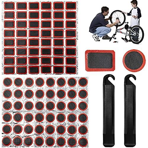 Tuofang Toppe di Gomma per Riparazione, Kit di Riparazione per Pneumatici di Bici Include 96 Pz Patch in Gomma, 2 Leve per Pneumatici da Ciclismo, per Riparazione di Puntura di Pneumatici (25mm)