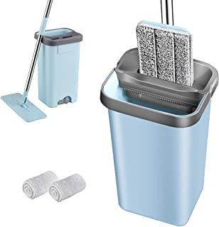 MICOE Flat Microfiber Mop Stainless Steel Handle 2 Free Microfiber Reusable Mop Pads and 1 Dirt Removal Scrubber