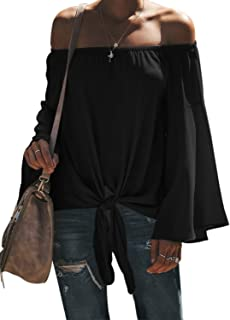 Womens Fall Off The Shoulder Tops Solid Bell Long Sleeve...