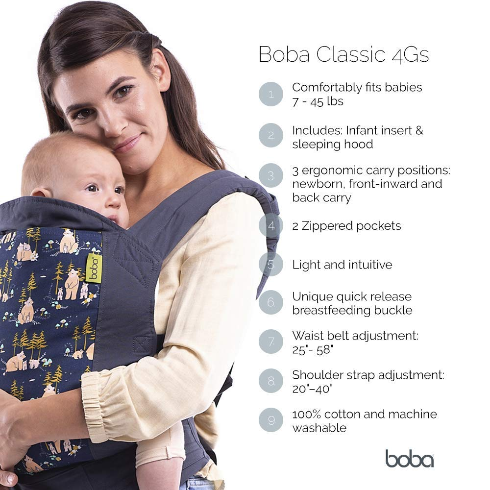 Boba Baby Carrier Classic 4GS - Backpack or Front Pack Baby Sling for 7 lb Infants and Toddlers up to 45 pounds (Constellation)