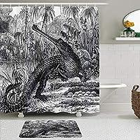 WOTAKA シャワーカーテン バスマット 2点セット 森の野生動物自然の森の化石の写真のワニのヴィンテージオールドファッションスケッチ 自家 寮用 ホテル 間仕切り 浴室 バスルーム 風呂カーテン 足ふきマット 遮光 防水 おしゃれ 12個リング付き