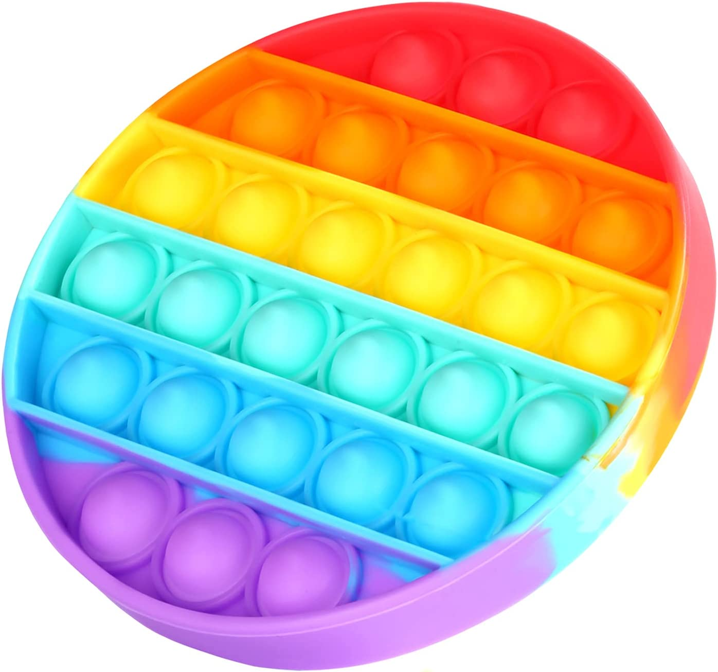 Hilla Push Pop Fidget Toy, Bubble Popping Sensory Toy, Stress Relief Fidgets for Kids Toddlers, Silicone Materials, Rainbow Circular