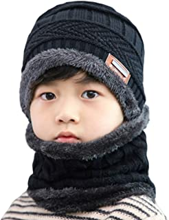 2 PCS Kids Boys Girls Winter Hat and Scarf Set, Warm Snow Knit Beanie Slouchy Skull Cap and Circle Scarf