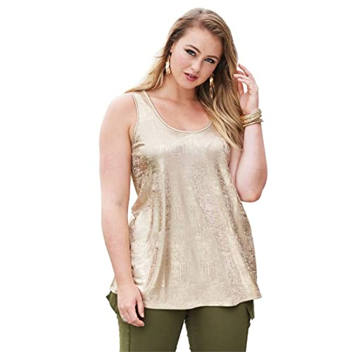 6925db52774 Roamans Women s Plus Size Scoopneck Metallic Tank Top