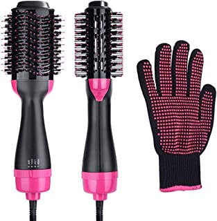 One Step Hair Dryer and Volumizer, Ionic Hair Straightener Hot Air Brush Fab Hair One Step Electric Salon Negative Ion Curly Hair Comb with Heat Resistant Glove