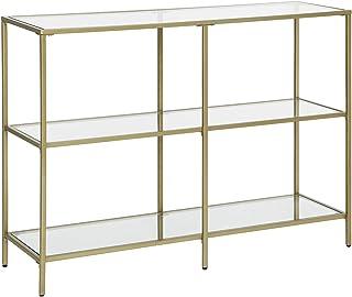 VASAGLE Table Console, Meuble d'entrée, Étagère à 3 Niveaux, en Verre trempé, 100 x 30 x 73 cm, Cadre en métal, Style Mode...