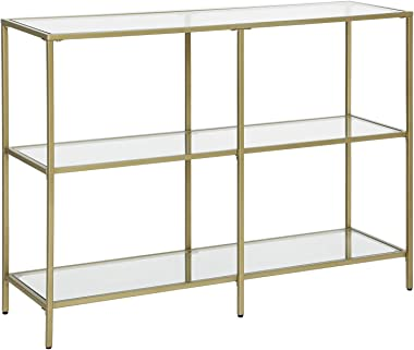 VASAGLE Console Sofa Table with 3 Shelves, 39.4 x 11.8 x 28.7 Inches, Metal Frame, Tempered Glass Shelf, Modern Style, for En
