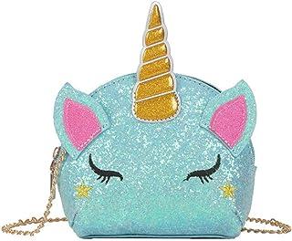 Cute Women Mini Unicorn Shaped Sequins Handbags Girls Casual Chain Messenger Crossbody Purse Shoulder Bag (Blue)