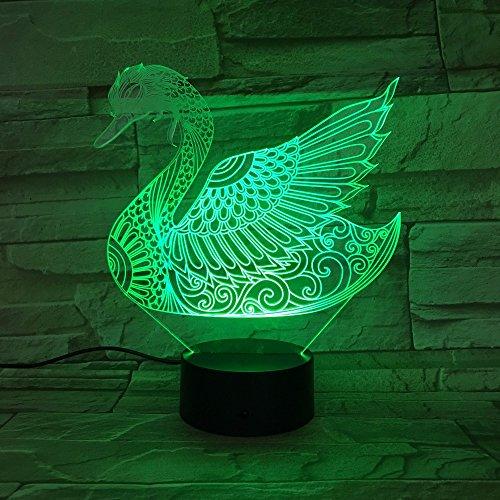 3D Kleurrijke zwaan nachtlampje voor kinderen, 7 kleuren veranderen met afstandsbediening, Dimbaar Kids kamer Decor Lamp Vakantie en Verjaardagscadeaus voor kinderen