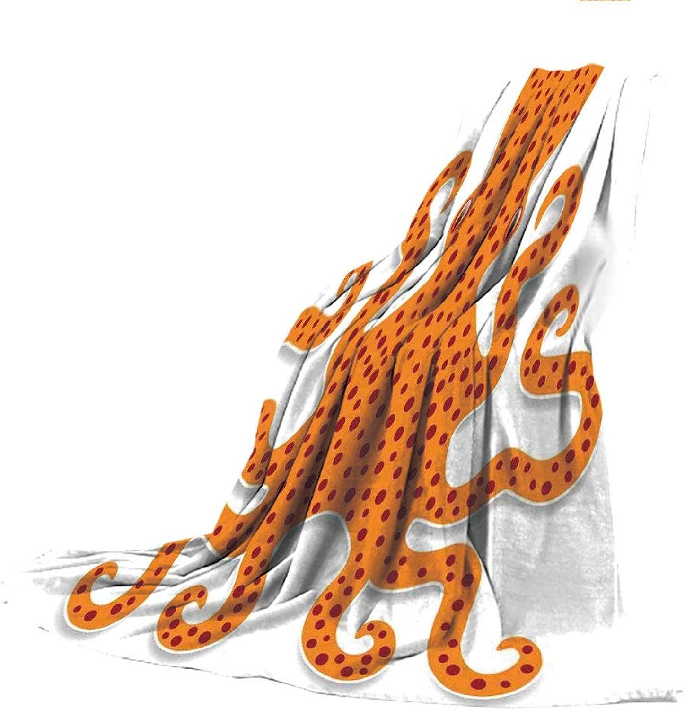 SCOCICI SuperThick Flannel Warm Sofa or Bed Blanket,Kraken,Cute Spotty Octopus Pattern in Vivid colors Marine Monster Kids Nursery Theme Print Decorative,orange,39.37  W x 59.06  H