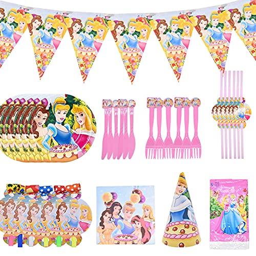 Fournitures de Fête Princesse, ALHX 54 pièces Décorations d'anniversaire Princesse, avec Ensemble de Vaisselle Jetable, Nappe, Ballons Princesse, Bannière d'anniversaire pour Garçons, Filles