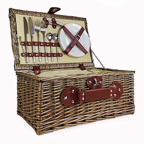 Picknickmand, wilgenmand voor 2 personen, met geïntegreerd koelvak en luxe roestvrij stalen bestek, cadeau-ideeën voor Valentijnsdag, Moederdag, verjaardag, huwelijk, verjaardag, bedrijfscadeau.