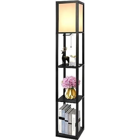 Alampia Lampadaire en Bois, Lampe de Plancher Moderne 1.6M, Lampe Étagère avec Douille E27, Lumière Décoration pour Chambre Salon Bureau Café Hôtel