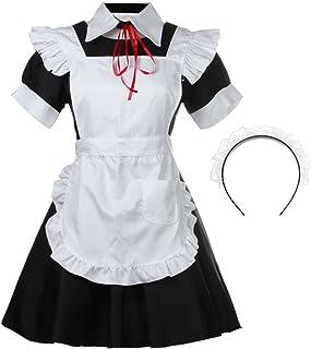 Black White Anime Maid Uniform Dress Halloween Fancy Cosplay Costumes by yiruisi