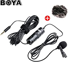 BOYA by-M1 Lavalier Omnidirectional Condenser Microphone Clipp-on Mic Audio Recorder for iPhone Samsung Smartphone Canon Nikon DSLR Camcorder for Zoom H1 H1N Recorder