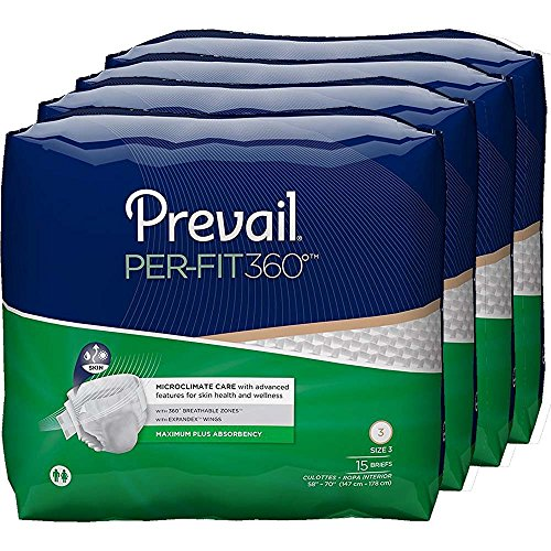 Prevail Per-Fit 360 Degree Maximum Plus Absorbency Incontinence Briefs, Size 3, 60 Count