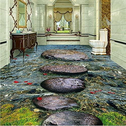 Renovación del hogar Muebles Papel tapiz 3D personalizado Mural Adhesivo de pared Piso Stone Creek River Baño de agua Azulejo de piso 3D Azulejo de cerámica Autoadhesivo Papel tapiz 3D Mural Adhesi