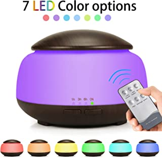 Tasera Essential Oil Diffuser with Remote Control, 300ml Mini Aroma Essential Oil Cool Mist Humidifier, Waterless Auto Shut-Off, Timer and 7 Color LED Lights for Office Home Study Yoga Spa Baby