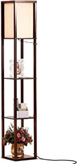 Brightech Maxwell - LED Shelf Floor Lamp - Modern Standing Light for Living Rooms and Bedrooms - Asian Wooden Frame with Open BoxDisplay Shelves - Havana Brown