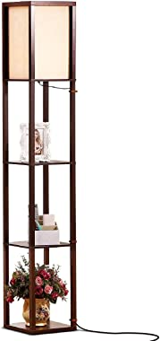 Brightech Maxwell - LED Shelf Floor Lamp - Modern Standing Light for Living Rooms and Bedrooms - Asian Wooden Frame with Open
