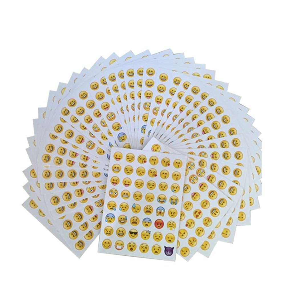 KISEER Cute Emoji Stickers, 1200 Pcs Popular Emoji Face Scrapbooking Stickers for Books, Notes, Photo Album or Laptop, 25 Sheets