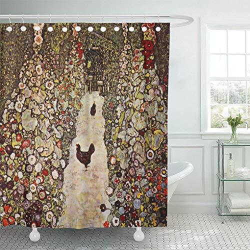 Leona Chesterton Duschvorhang Gustav Klimt Gartenhähne Landschaften Gemälde Huhn Wohnkultur Wasserdicht Bad Badezimmer Gardinen Set mit Haken