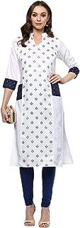 Ziyaa women's White Colour Straight Chanderi Gold Foil Print Kurta (ZIKUCH2089)